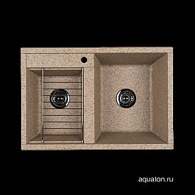 Мойка для кухни Делия 78 DBL 2 чаши песочный Aquaton 1A723132DE220
