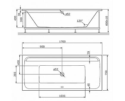 W52A-170-075W-R Inspire 2.0 каркас для ванны 170х75  комплект