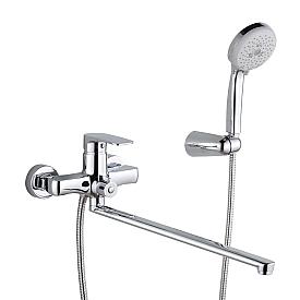 GRITT Смеситель д/ванны монокомандный, с поворотным изливом L40 см. и ручным душем, хром