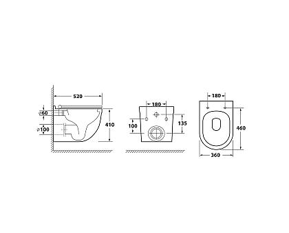 Унитаз подвесной безободковый OWL Eld Cirkel-H OWLT190101 с сиденьем DP микролифт
