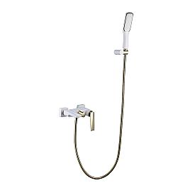 смеситель для ванны с душ.гарнитуром белый-золото Boheme VENTURO 383-W белый-золото