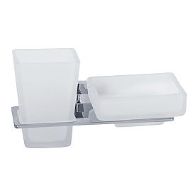 RAMBA Стакан с мыльницей настенный, хром/матовое стекло
