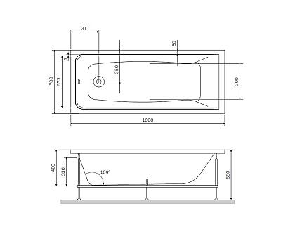 W90A-160-070W-R Gem каркас в комплекте с монтажным набором 160х70  см