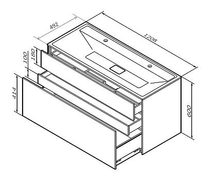M50AFHX1203EGM INSPIRE V2.0 База под раковину подвесная 120 см 3 ящика push-to-open элегантный