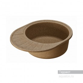 Мойка для кухни Чезана круглая с крылом терракотовая Aquaton 1A711232CS270