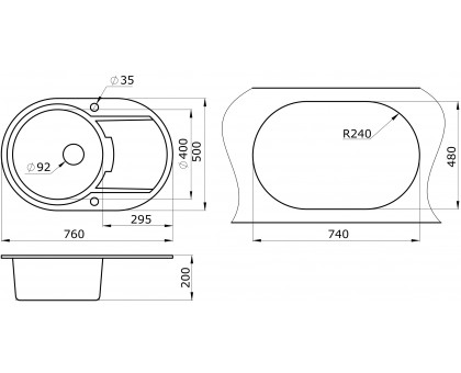 Мойка для кухни кварцевая Paulmark Fittich PM317650-CH