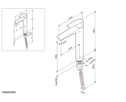 F90A92000 Gem смеситель для умывальника высокий хром.