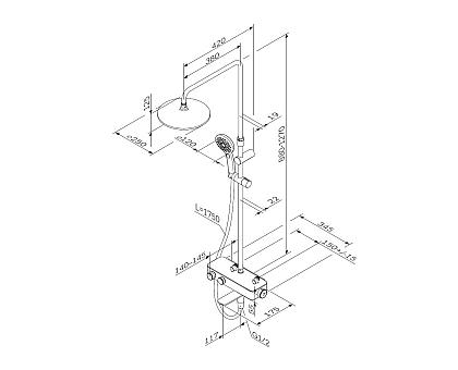 F0750A500 Inspire V2.0 душевая система набор: см-ль для ванны душа с термостатом верхний душ d 250