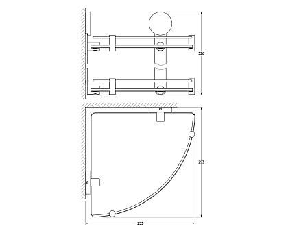 Полка угловая 2-х ярусная (матовое стекло; хром) Artwelle HAR 040 26 см