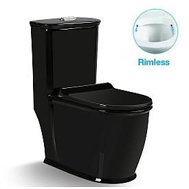 Унитаз напольный безободковый черный моноблок с сиденьем микролифт SantiLine SL-5019B