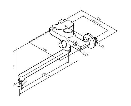 F85A90000 X-Joy смеситель для ванны душа излив 300 мм хром