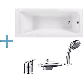 Акриловая ванна Aquanet Bright 165x70 с каркасом и смесителем Aquanet Practic 2 AF111-63B 00229217 , 00229218 , 00216780
