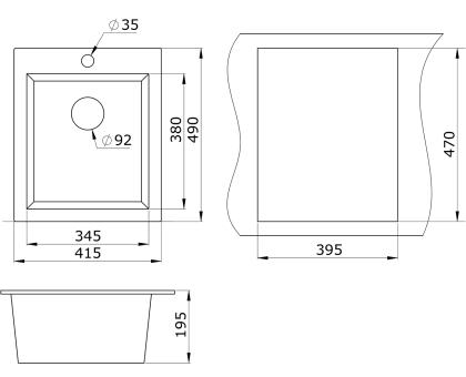 Мойка для кухни кварцевая Paulmark Leer PM104249-DG