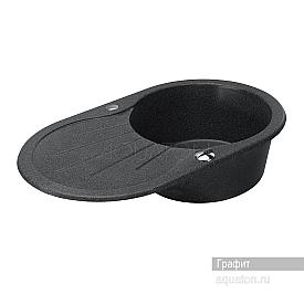 Мойка для кухни Паола круглая с крылом графит Aquaton 1A714032PA210