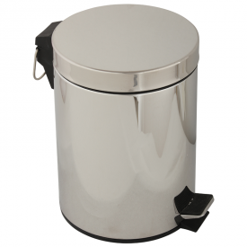 GIFORTES Ведро д/мусора 5 литров круглое, с крышкой, хром