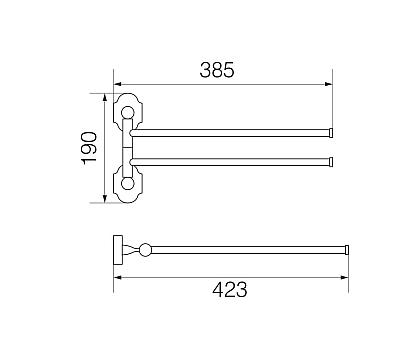 STANFORD Полотенцедержатель двойной поворотный 33 см., бронза