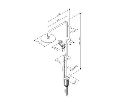 F0780100 Like душ.система набор: верхн.душ d 220 мм ручн.душ 3 ф-ции d 110 мм переключатель душ.