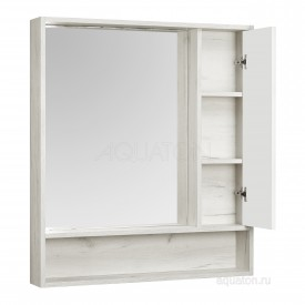 Зеркальный шкаф Флай 80 белый, дуб крафт Aquaton 1A237702FAX10
